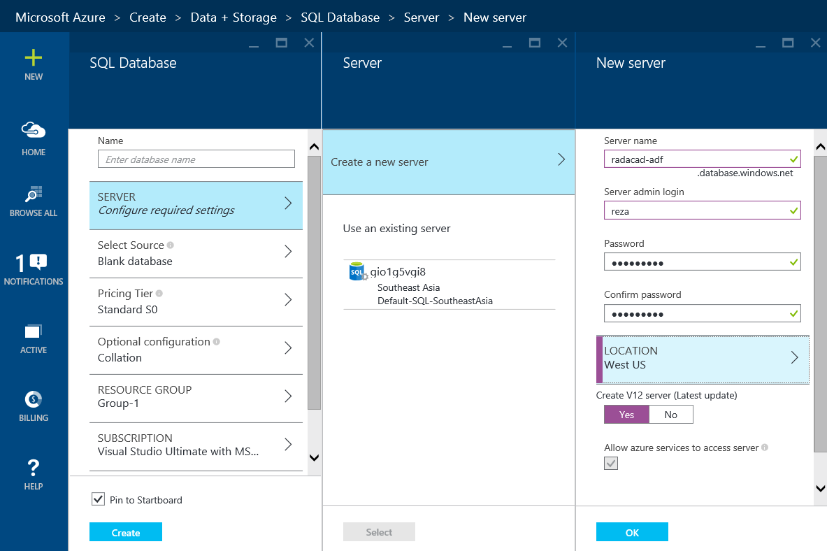 linked services azure data factory basic sample  the sql database as you want i d it as adf basic sample set other options as well as the resource group and click on create