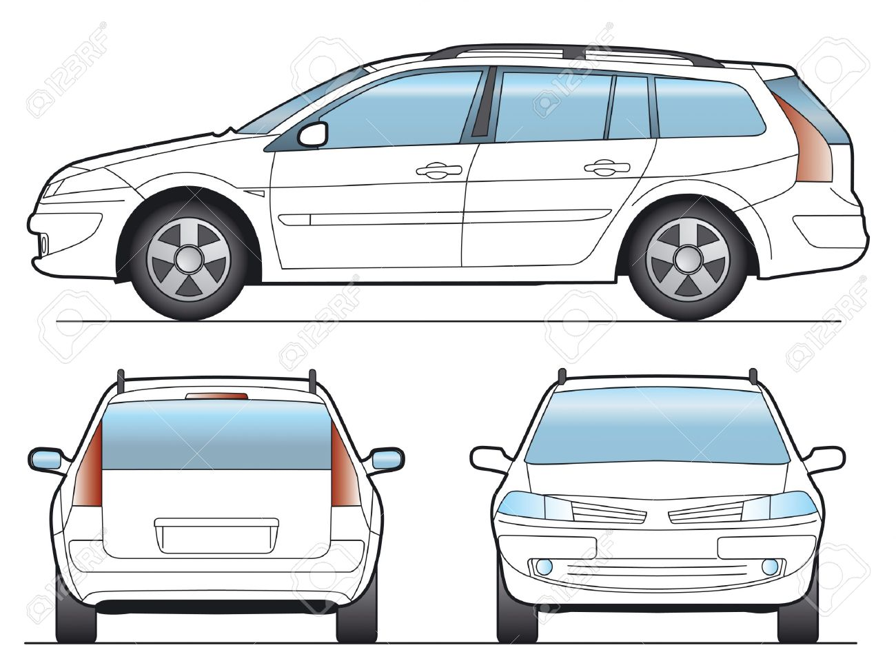 1648382-SW-Car-Layout-for-presentation-vector-Stock-Photo-car-outline-rear